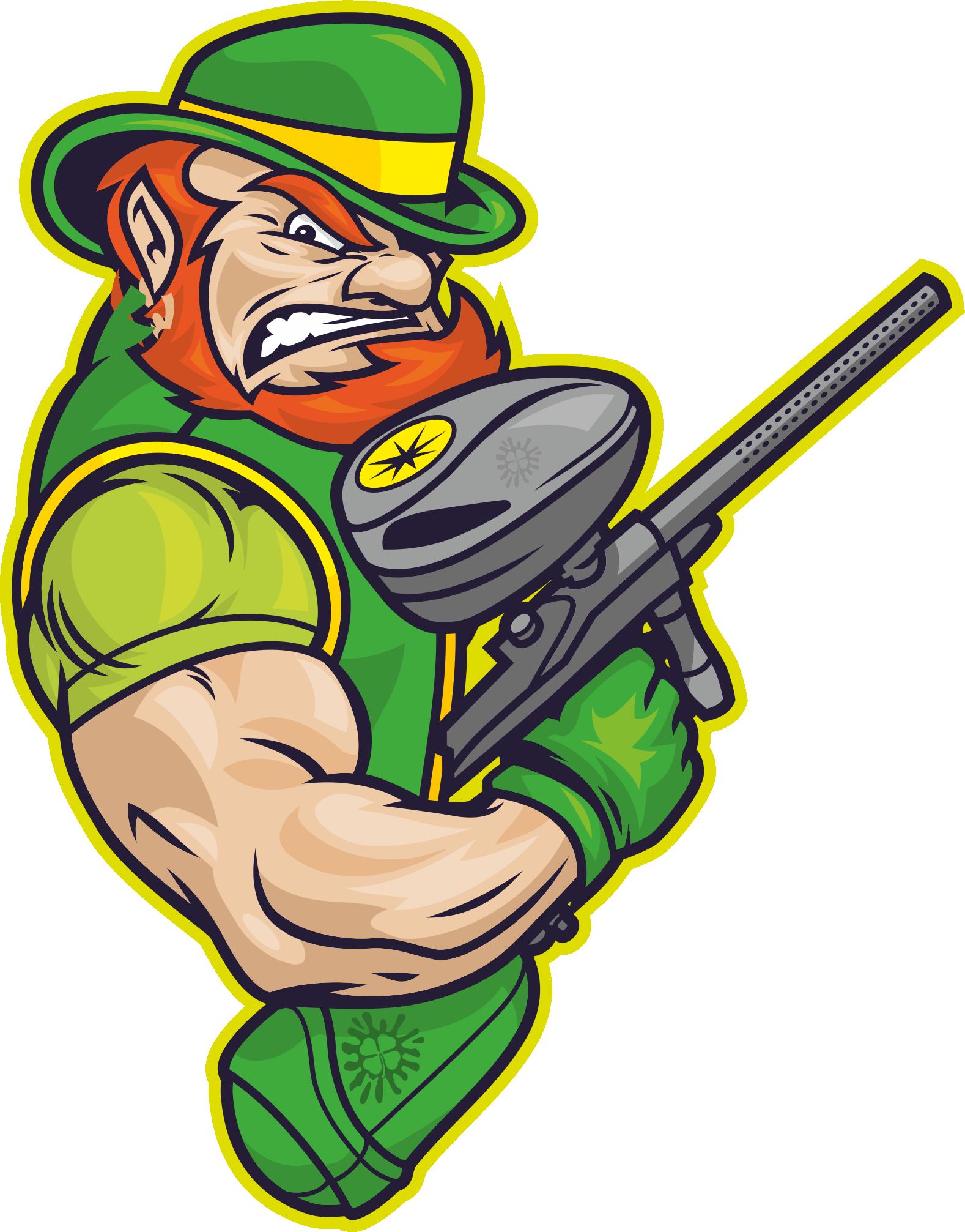Лепрекон с маркером - символ пейнтбольной Команды Ирландцы